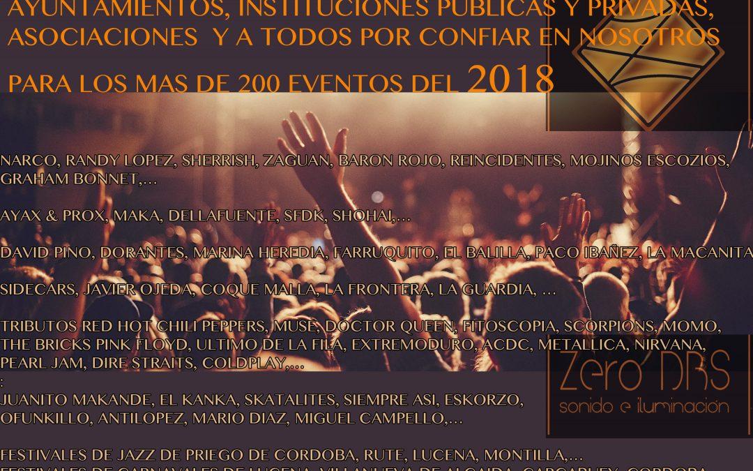 MAS DE 200 EVENTOS EN DIRECTO EN 2018!!!